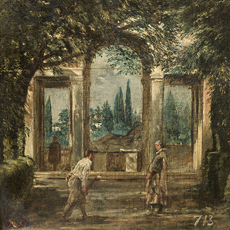 View of the Gardens of the Villa Medici in Rome, with a Statue of Ariadne